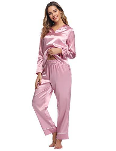 Hawiton Damen Schlafanzug Lang Satin Pyjama Nachtwäsche V Ausschnitt Rosa XL