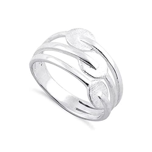 Sello de plata de ley 925 chapado en platino Tres anillos apilables de diseño hecho a mano de plata lisa (24)