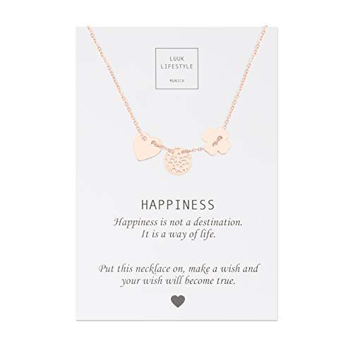 LUUK LIFESTYLE Edelstahl Halskette mit Glücksbringer Anhänger und Happiness Spruchkarte, Glücksbringer, Damen Schmuck, rosé