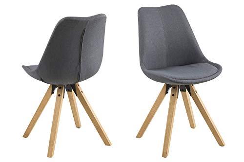 Eine Marke von Amazon - Movian Arendsee - Set aus 2 Esszimmerstühlen, 55 x 48,5 x 85 cm, Dunkelgrauer Stoff, eichenfarben gebeizte, ölbehandelte Beine aus Kautschukholz