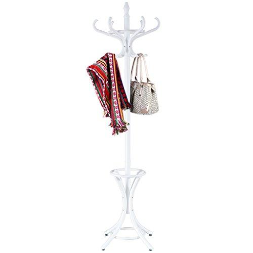 Costway Porte Manteau sur Pieds avec 12 Crochets en Bois Massif pour Manteaux Chapeaux Parapluie 51 x 51 x 184CM Blanc