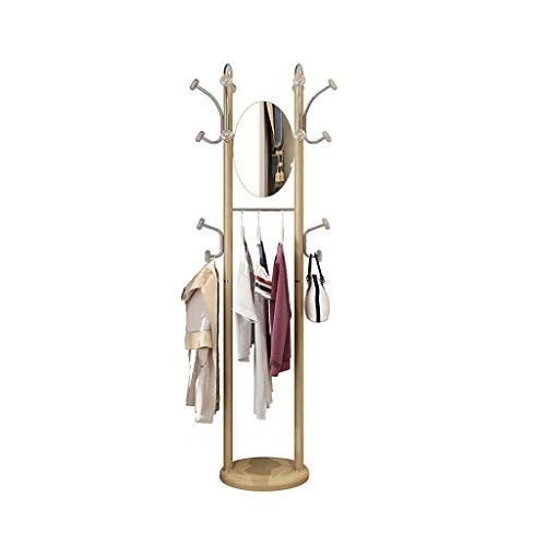 Perchero para Abrigos Hogar Perchero suelo de suspensión dormitorio ropa simple rack móvil de múltiples funciones de longitud completa Espejo Percha con Espejo pasillo perchero de pie ( Color : Gold )