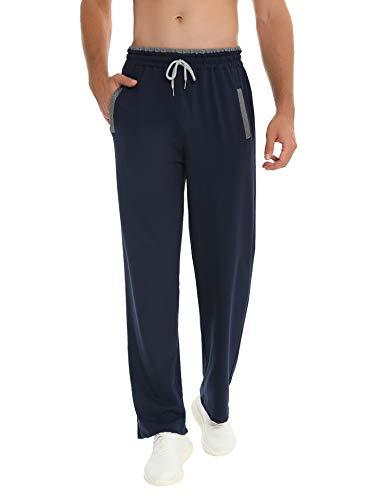 Akalnny Pantalones Hombre Casuales Deporte Elásticos Suelto Joggers Largos Pants con Bolsillos Adecuado para Trotar, Deportes, Fitness(Azul Marino,M)