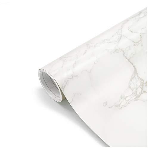 Papel Adhesivo para Muebles Marmol Papel Mármol Vinilo Decoracion Papel Pintado Cocina Autoadhesivo Gris Blanco 61X500cm