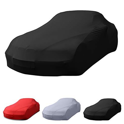 Porsche passend Stretch Soft Cover Indoor Autoplane Autoabdeckung Auto Car Cover Abdeckplane Schmutzabweisend Autogarage Staubdicht extrem Atmungsaktiv Autodecke (Schwarz)
