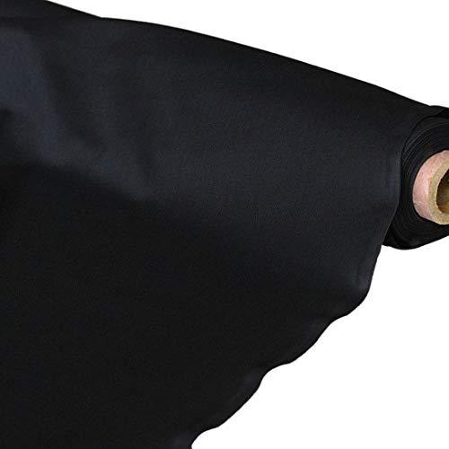 TOLKO Baumwollstoff | 42 kräftige ÖkoTex Farben Baumwoll-Nesselstoff uni Kleiderstoff Dekostoff | Baumwolle Meterware 150cm breit | Vorhang-Stoff Bezugsstoff Webstoff 50cm (Schwarz)
