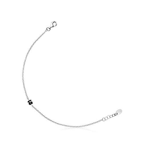 TOUS Pulsera Mini Ónix de Plata con Ónix, Largo 17,5 cm