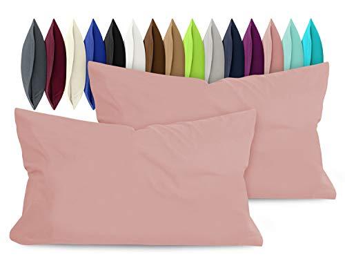 npluseins 2er Pack Baumwoll Kissenbezug - Jersey - viele Farben 1331.1812, ca. 40 x 60 cm, Altrosa