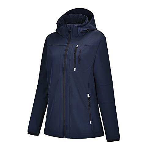 REYSHIONWA Women's Softshell Jacket Hiking Outdoor Water Repellent Windproof Warm Zip up Coat with Removable Hood Breathable Black