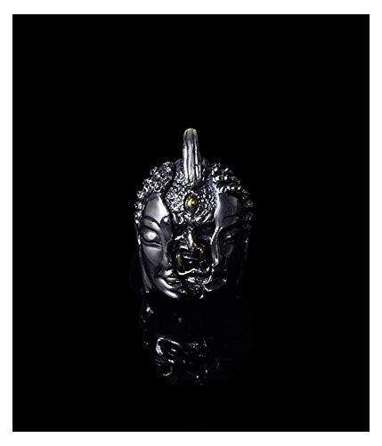 925 Silber Buddha und Teufel Anhänger Herz und Herz Halskette, Retro-Trend Männer und Frauen Schmuck Schlüsselbein Kette Pullover Kette Kreative 50cmchian