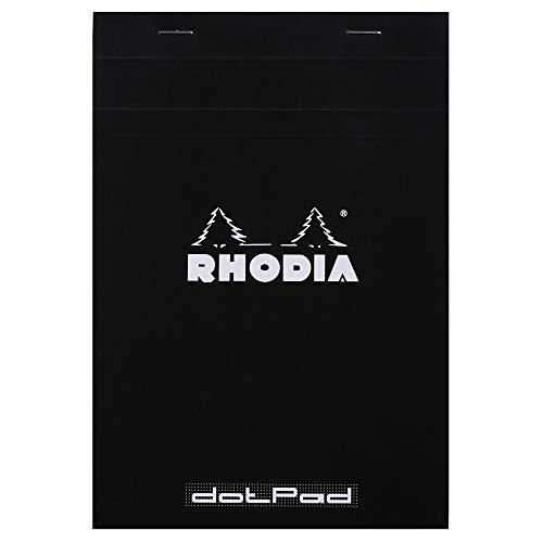 Rhodia 16601C - Bloc de notas perforados (80 hojas, A5, 14.8 x 21 cm, con puntos, 5 mm entre puntos), color negro