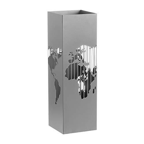 Paragüero de Metal Plateado de Mapa Moderno para la Entrada Factory -