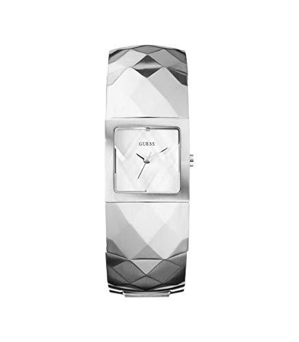GUESS W12646L1 - Reloj analógico de Cuarzo para Mujer con Correa de Acero Inoxidable, Color Plateado