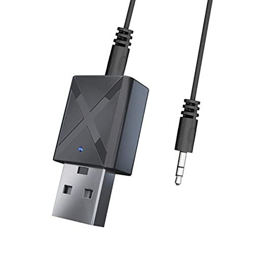 LIXIAONMKOP Transmetteur de récepteur audio Bluetooth 5.0 émetteur Bluetooth Stéréo de 3,5 mm pour TV PC Adaptateur sans fil pour voiture (Color Name : Black)