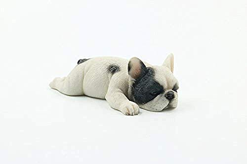 WSIMEI Statue Ornaments Sculptures French Bulldog Meng Sleep Small Law Simulation Animal Dog Model Sleeping Posture Method Cattle Car Decoration White Pirate