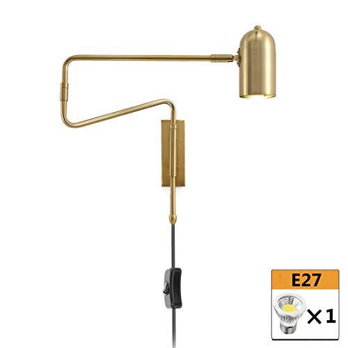 Wandleuchte aus Metall Innen Nachttisch Wandlampe, 360° Schwenkbar Langer Arm, Wohnzimmer Wand Leselampe mit Schalter und 1.8m Kabel Stecker, Moderne Wandlampen für Schlafzimmer Esszimmer, Gold
