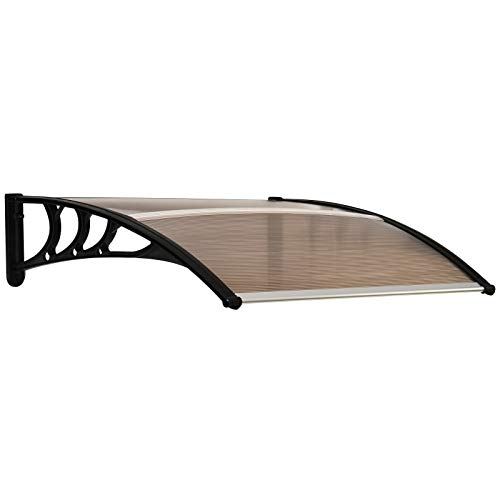 Outsunny Curved Window Door Canopy Aluminium Rigid Plastic Polycarbonate Fixed Outdoor Awning Modern...