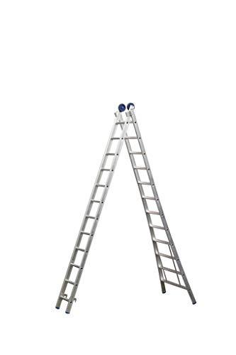Eurostairs Reform ladder dubbel uitgebogen 2x12 sporten + gevelrollen