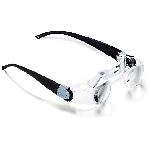Kingsea Adjustable Magnifying Lens TV Myopia Glasses,2.1X Handsfree Binocular Magnification Glasses 0-300 Degree Reading,Research, Watching, Fishing,Electronics Repair for Myopia