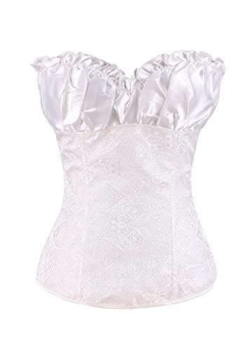 EFOFEI Corsé para mujer, corsé de novia, ajustable, con cordones estampados, corsé sexy, cintura y chaleco Loli Blanco XL