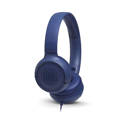 JBL Tune 500 - Auriculares supraaurales de cable y control remoto de un solo botón, micrófono incluido, asistente de voz, azul