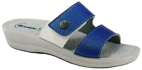 inblu Ciabatte, Pantofole Donna MOD. VR-47 Velcro Jeans Linea Benessere (40 EU)