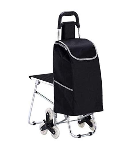 Pkfinrd Silla plegable para la compra con taburete, portátil, de aleación de aluminio, con silla, escalada, compras, coche (color negro)