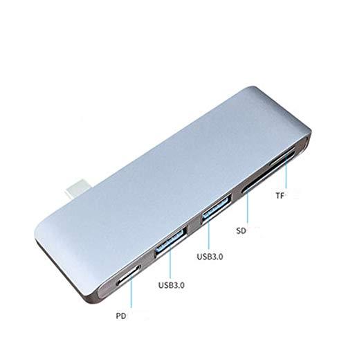 GNXTNX Expansor Concentrador USB Splitter Portátil Inalámbrico Convertidor De Computadora para Teléfono Móvil Tipo-C A HUB con Divisor De Fuente De Alimentación,PD