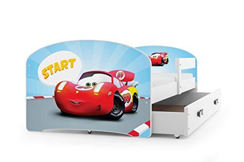 Kinderbett LUKI, Farbe: weiβ 160x80cm, mit Matratze, Schublade und Lattenrost (AUTO)