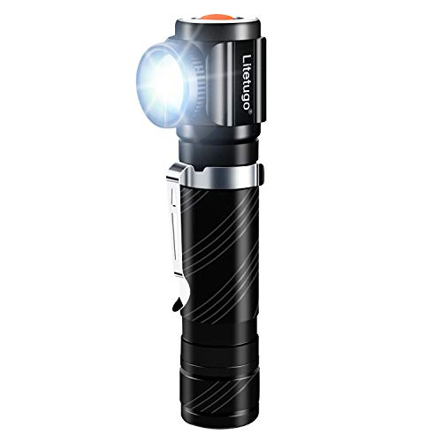LED Right Angle Flashlight - USB Rechargeable Tactical Mini Flash Light, 90 Degree Pocket-sized Handheld Flashlights, Zoomable High Lumen for Camping, Hiking, Outdoor, Emergencies