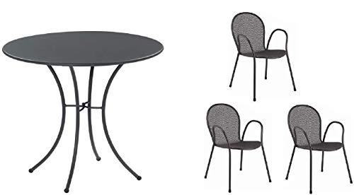 Table pour extérieur Pigalle Kiss diamètre 60 cm + 3 fauteuils ronds, en fer galvanisé et verni à la poudre, couleur fer antique fantaisie 22 – Produit fabriqué en Italie
