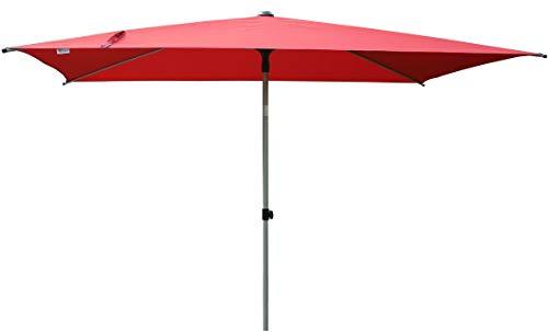 SORARA Porto Parasol de Jardin Exterieur | Rouge | 300 x 200 cm (3 x 2 m) | Rectangulaire | Mécanisme Push-up (Pied excl.)