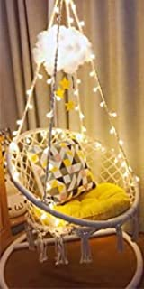 Sonyabecca LED Hanging Chair Light Up Macrame Hammock Chair with 39FT LED Light for Indoor/Outdoor Home Patio Deck Yard Ga...