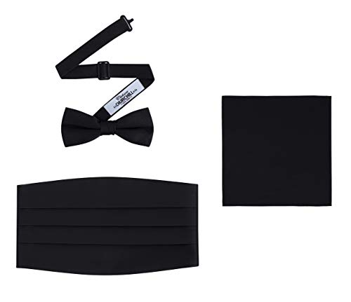 Men's 3 Piece Formal Accessory Set with Bow Tie, Cummerbund & Pocket Hanky (Black)