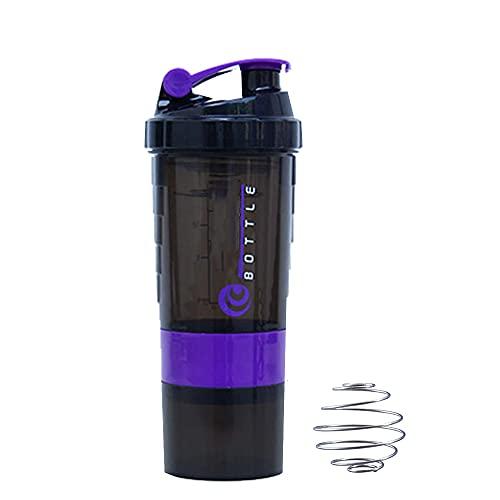 Nutritional Protein Shaker Bottiglia con Proteine Shaker Ball e Copertura A Tenuta, Partner Perfetto per Sport e Fitness (Viola)