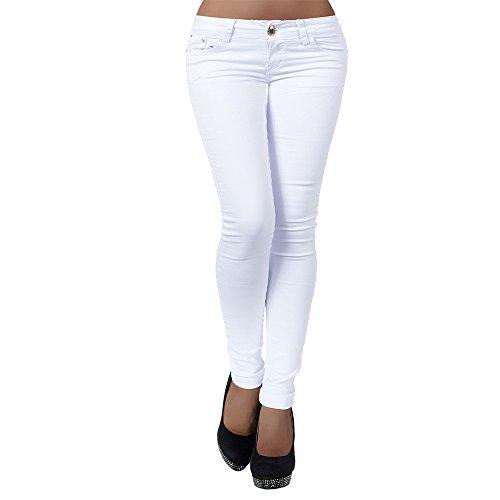 Diva-Jeans H937 Damen Jeans Hose Hüfthose Damenjeans Hüftjeans Röhrenjeans Röhrenhose Röhre, Weiß, 36