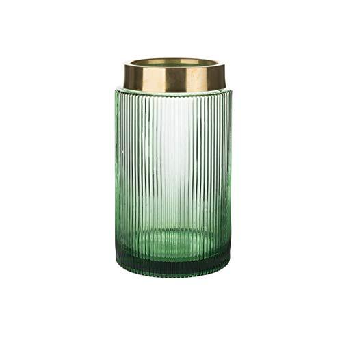 ZB-KK SZQ-bloempotten met geribbeld oppervlak, glazen vaas met gouden rand hoogte van de waterplant groen 19,5-26 cm vazen