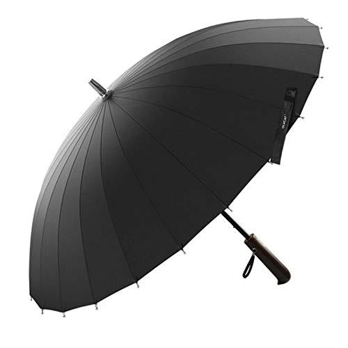 XIXV Regenschirm Damen und Herren Holz Fiberglas Regenschirm Massiv windundurchlässiges Holzgriff. Mini-Regenschirm (Color : Black)