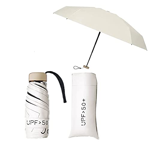 Mini paraguas de bolsillo Paraguas Plegable Ultraligero Mini Paraguas Plegable de Goma Sombrillas Soleado Viajes Impermeable A Prueba De Viento (Blanco crema)