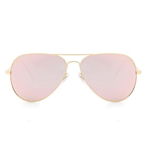 L.L.QYL Gläser Aviator Sonnenbrillen für Männer Frauen Klassische Mode Brillen Polarisierte Sonnenbrillen mit Etuis Brillen Sonnenbrillen (Color : Golden+pink)