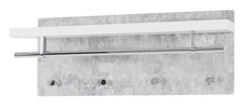 Haku Möbel Wandgarderobe- MDF Dekor Betonoptik - mit Hutablage 75 cm