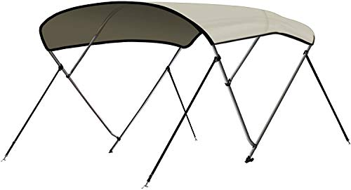 "Leader Accessories Light Grey 3 Bow 6'L x 46"" H x 54""-60"" W Bimini Top Cover 4 Straps for Front and Rear Includes Mounting Hardwares with 1 Inch Aluminum Frame"