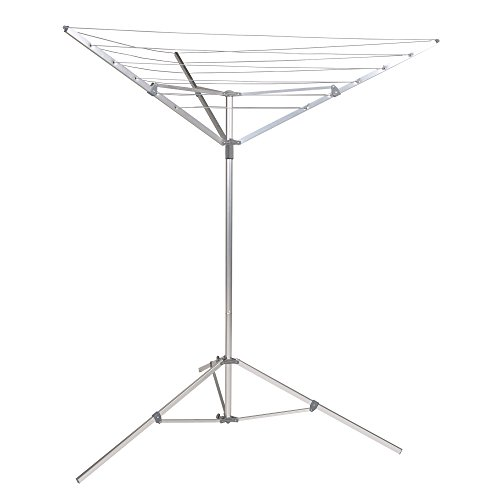Household Essentials 17125-1 Portable Umbrella Drying Rack | Aluminum | 18-Lines with 64 ft. Clothesline