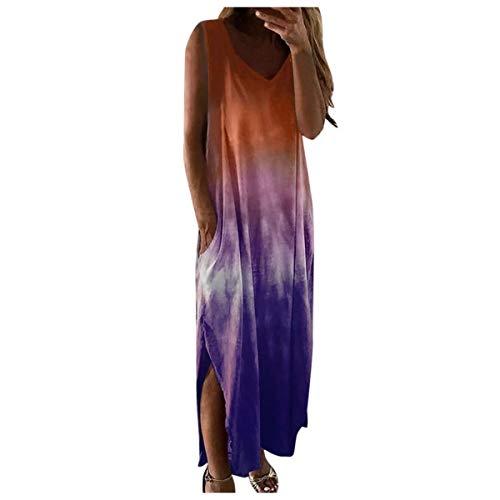 Women Fashion Casual Tie-Dye Print Sleeveless Dress V-Neck Pocket Long Dress