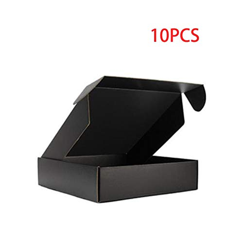 10 Stück Box Farbe Paket Karton Kleine Geschenkbox Perücken Blanko 3 Schichten Wellpappe Home Dekoration (Farbe: Schwarz, Größe: 30 x 20 x 6 cm)