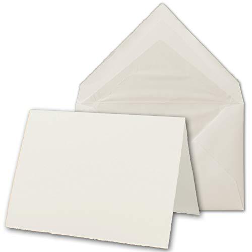 50x B6 Vintage Faltkarten-Set mit Brief-Umschlägen, echtes Bütten-Papier, 113 x 175 mm - hoch-doppelt, Natur-Weiß - Original Zerkall-Bütten