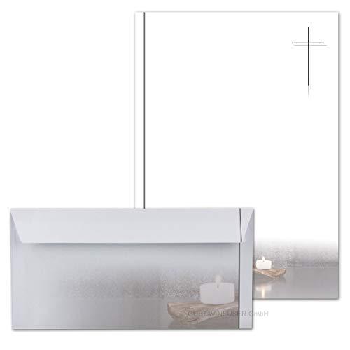 50 x Set Trauerpapier DIN A4 + Trauerumschläge DIN Lang - Motiv Kerzen auf altem Holz - 22 x 11 cm - bedruckbar - Kondolenz Set für Danksagung Trauer