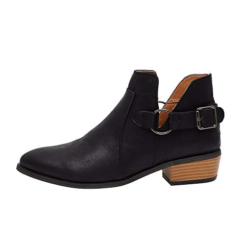 WUSIKY Bootsschuhe Damen Stiefeletten Boots Damen Fashion Stiefel Spitz Martin Stiefel Klassische Stiefeletten Freizeitschuhe (Schwarz, 40 EU)