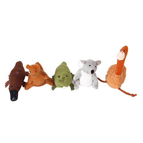Sharplace 5 Marionetas de Dedo de Animales Australianos para Niños, Juguetes Educativos de Felpa Suave, Koala ... Emu