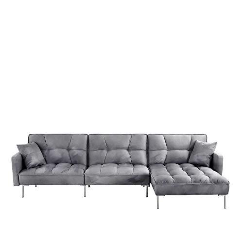 Casa AndreaMilano Modern Velvet Fabric Futon Sectional Sofa, 110.6' W inches, Dark Grey